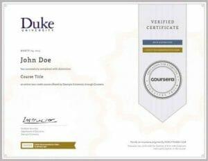 Coursera Zertifikat MOOC Certificate MOOCs Online Bildung
